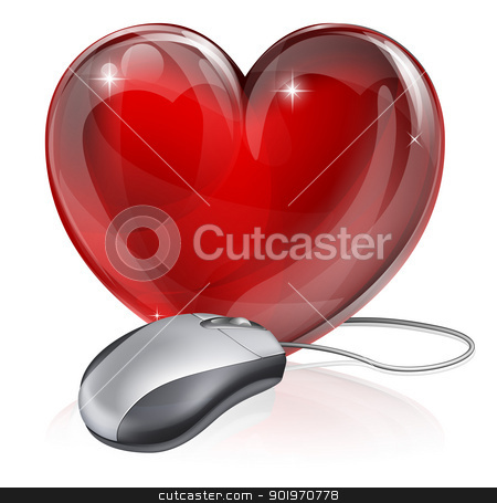 Online dating concept stock vector clipart, Illustration of a computer mouse connected to a red heart symbol, concept for online dating, romance or similar  by Christos Georghiou