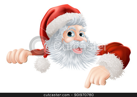 Christmas Santa pointing down at sign stock vector clipart, Cartoon illustration of Santa Claus pointing down at Christmas message or sign by Christos Georghiou