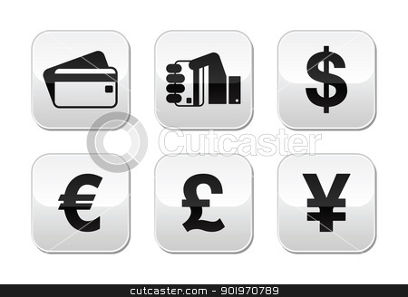 Payment methods buttons set - credit card, by cash - currency stock vector clipart, Currency and credit card icons on modern glossy buttons - dollar sign, euro, pound, yen by Agnieszka Murphy