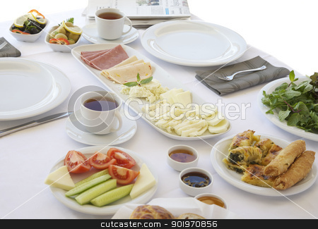 Breakfast  stock photo, Breakfast table with cheese, tomatoes, olives, cucumber and pastries by necati turker