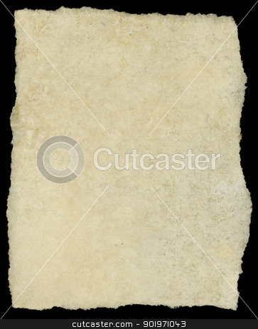 Vintage torn canvas art paper isolated on black. stock photo, Vintage torn canvas art paper isolated on black. by Stephen Rees