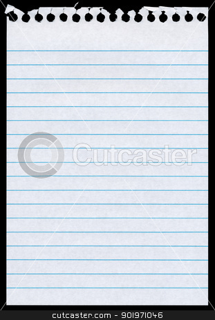 White lined blank torn notepaper page isolated black background. stock photo, White lined blank torn notepaper page isolated black background. by Stephen Rees