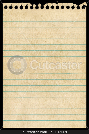 Old torn notepaper page isolated black background. stock photo, Old torn notepaper page isolated black background. by Stephen Rees