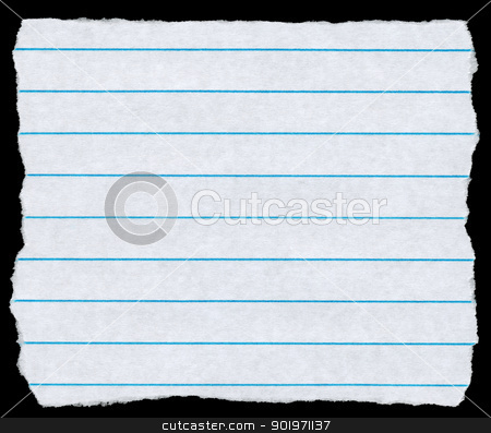 Square torn piece of white lined paper isolated on black. stock photo, Square torn piece of white lined paper isolated on black. by Stephen Rees
