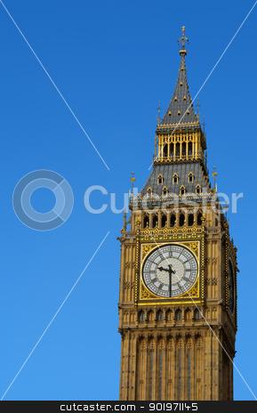 Big Ben Westminster Elizabeth Clock Tower in London. stock photo, Big Ben Westminster Palace Elizabeth Clock Tower in London with a blue sky.  by Stephen Rees