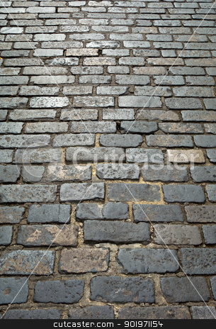 Old London cobblestone street close up.  stock photo, Old London cobblestone street close up.  by Stephen Rees