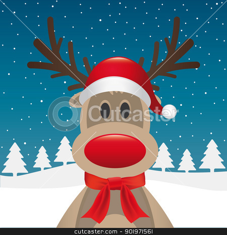 reindeer red nose scarf santa claus stock photo, rudolph reindeer red nose scarf santa claus by d3images