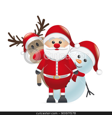 reindeer red nose santa claus snowman stock photo, rudolph reindeer red nose look santa claus by d3images
