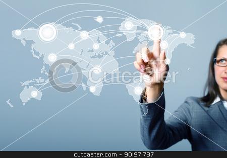Internet concept of global technology stock photo, Modern Business World, A businessman navigating virtual world map by Sergey Nivens