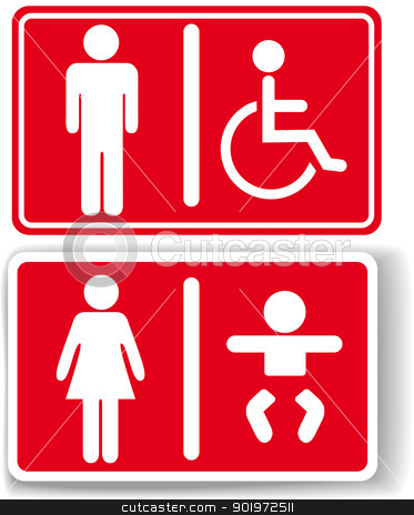 Restroom men women baby handicapped stock vector clipart, Signs for restroom men women baby diaper changing handicapped access by Michael Brown