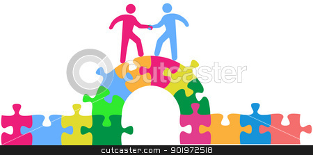 People team up climbing bridge to deal stock vector clipart, Two people team up climbing bridge to join in a merger make a deal or collaborate by Michael Brown