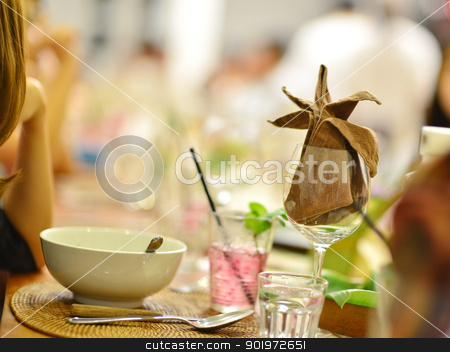 Party stock photo, Group of people having reunion party, focus on the wineglass by szefei