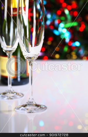 Champagne stock photo, Champagne on Christmas tree background by klenova