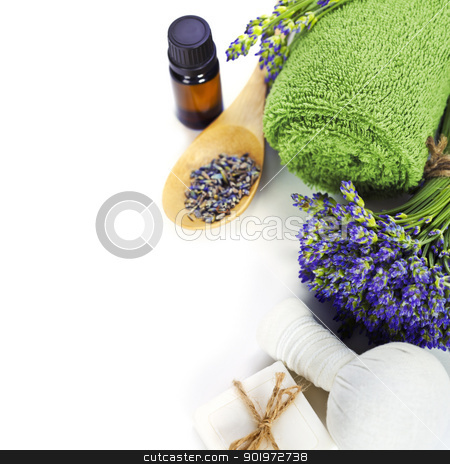 lavender spa stock photo, lavender spa (fresh lavender flowers, towel, essential oil,  Herbal massage balls) over white by klenova