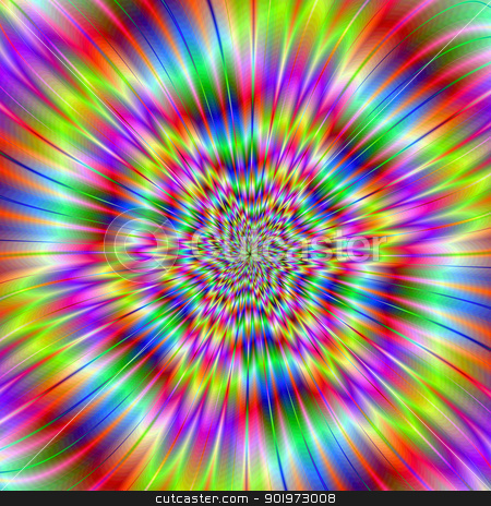 Star Explosion stock photo, Digital abstract image with a colorful explosion star design in lilac, blue, pink, yellow, and red. by Colin Forrest