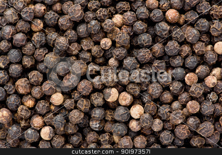 Black Pepper (Piper nigrum) stock photo, Background texture of whole, dried, black peppercorns. by Glenn Price