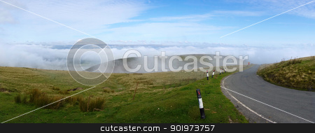 Welsh hills narrow road morning mist, Mynydd Epynt. stock photo, Welsh hills narrow road morning mist, Mynydd Epynt. by Stephen Rees