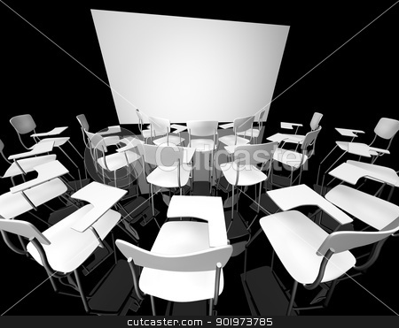 classroom  stock photo, Empty black classroom with white school chairs by carloscastilla