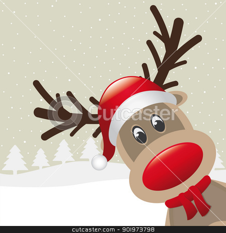 reindeer red nose scarf hat stock photo, reindeer red nose scarf santa claus hat by d3images