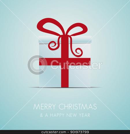 christmas gift box red ribbon stock photo, white christmas gift box with red ribbon by d3images