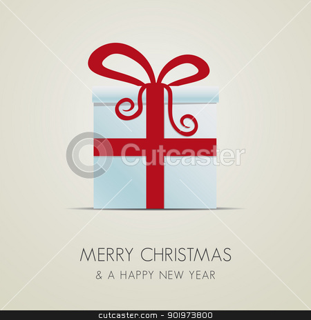 christmas gift box red ribbon stock photo, white christmas gift box with red ribbon by d3images