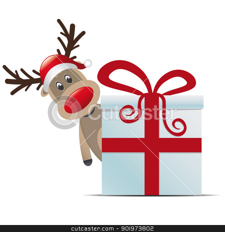 reindeer christmas gift box red ribbon stock photo, reindeer christmas gift box with red ribbon by d3images