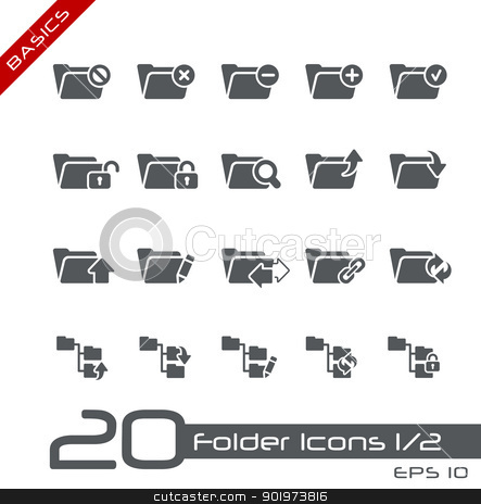 Folder Icons - Set 1 of 2 // Basics stock vector clipart, Vector icons for your web or printing projects. by Diego Alies
