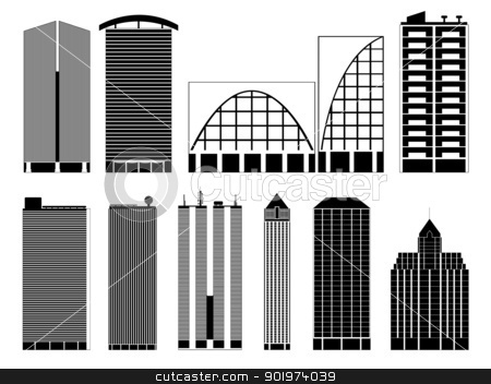 buildings stock vector clipart, Set of buildings illustration on white background by Iliuta