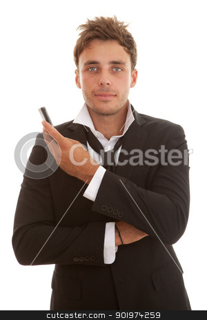 business man with phone stock photo, young casual business man with suit holding cell or mobile phone by mandygodbehear