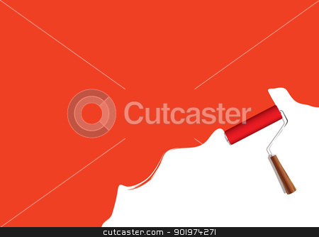 Paint roller background stock vector clipart, Red background with paint roller element and copy space by Michael Travers