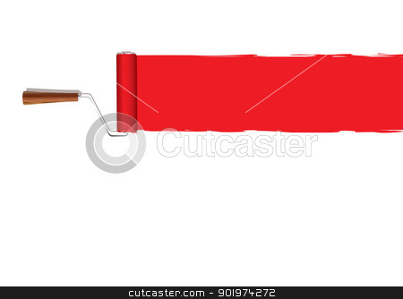 Paint roller banner stock vector clipart, Red banner with paint roller background by Michael Travers