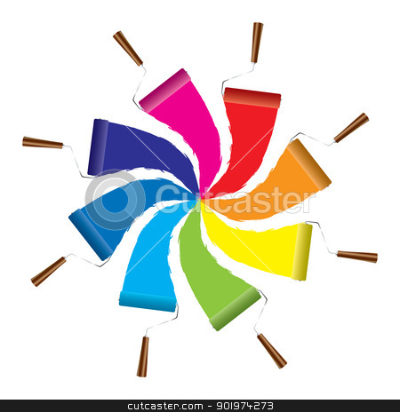 Paint roller icon stock vector clipart, Modern paint roller icon with rainbow of colors by Michael Travers