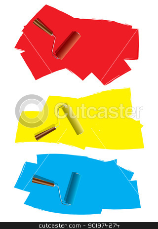 Roller paint concept stock vector clipart, Three decoration roller paint icons with splat element by Michael Travers