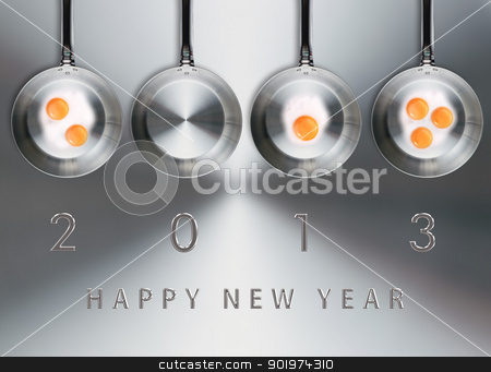 Happy new year 2013 stock photo, Happy new year 2013, conceptual images Fried eggs in a frying pans creating 2013 year number. by Designsstock