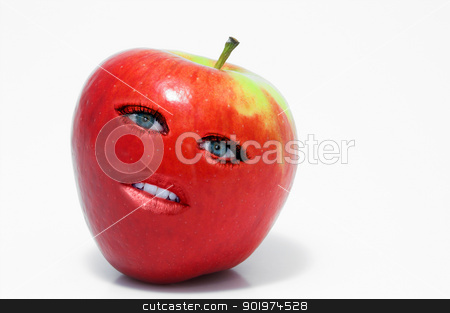 Red Delicious Apple Woman stock photo, Beautiful whole female red delicious apple with lips and eyes by Robert Byron