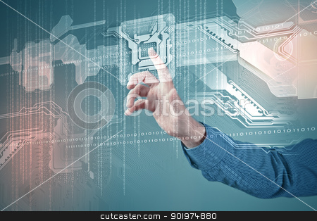 future technology. touch button inerface stock photo, hand and future technology. touch button inerface illustration by Sergey Nivens