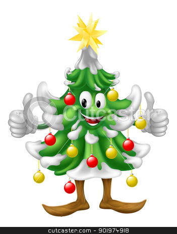 Christmas tree mascot doing thumbs up stock vector clipart, Illustration of a cute happy smiling Christmas tree mascot doing a thumbs up by Christos Georghiou