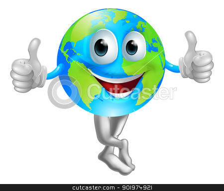 Cartoon globe mascot man stock vector clipart, A cartoon globe mascot man with a happy face doing a thumbs up by Christos Georghiou