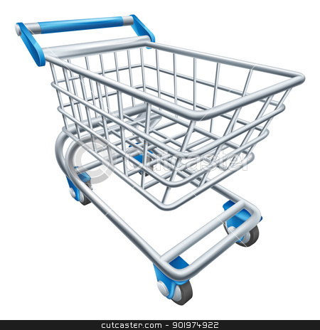 Supermarket shopping cart trolley stock vector clipart, An illustration of a wire supermarket shopping cart trolley or basket by Christos Georghiou