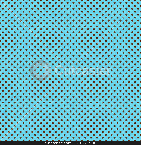 Brown Dots on Bright Turquoise stock photo, Slightly grungy pattern of brown polka dots on bright turquoise by SongPixels