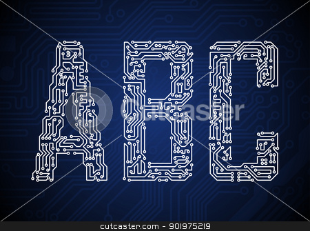 Circuit board letters stock vector clipart, Set of Circuit board style letters by vtorous