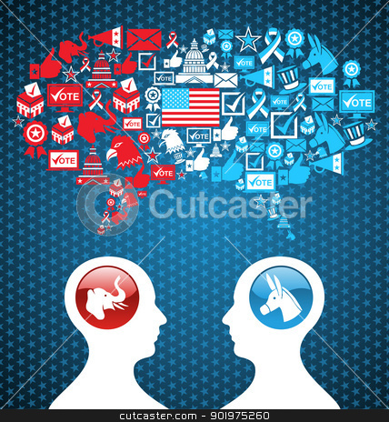 USA political elections social discussion stock vector clipart, Democratic and  Republican social networks political rally. USA elections discussion: two men facing heads with icons speech bubbles. Vector file layered for easy manipulation and custom coloring. by Cienpies Design