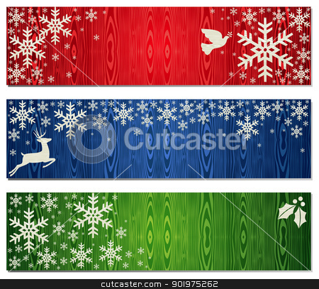 Christmas snowflakes banner backgrounds set stock vector clipart, Reindeer, dove of peace and mistletoe Christmas banner backgrounds. Vector illustration layered for easy manipulation and custom coloring. by Cienpies Design