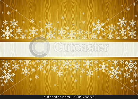 Christmas snowflakes golden background stock vector clipart, Golden Christmas background with snowflakes. Vector illustration layered for easy manipulation and custom coloring. by Cienpies Design