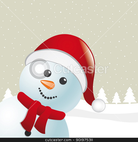 snowman scarf and santa claus hat stock photo, snowman with scarf and santa claus hat by d3images