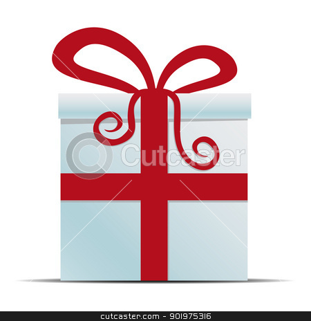 white gift box with red ribbon stock photo, white gift box with red ribbon isolated by d3images