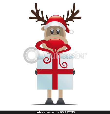 reindeer hold gift box stock photo, reindeer christmas gift box with red ribbon by d3images
