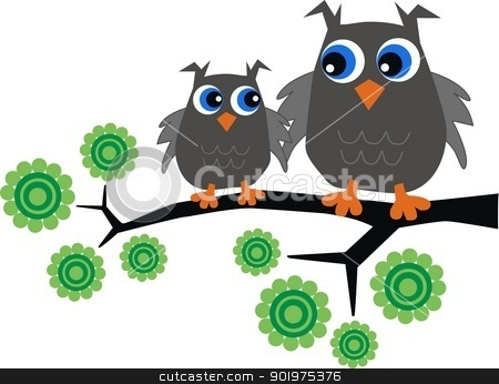two grey owls stock vector clipart, two grey owls sitting in a tree by Popocorn