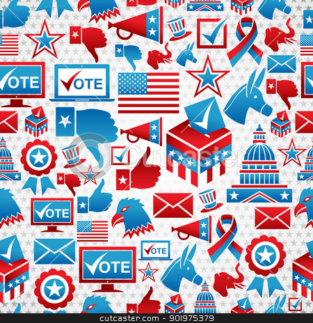 USA elections icons pattern stock vector clipart, USA elections icon set seamless pattern background. Vector file layered for easy manipulation and custom coloring. by Cienpies Design