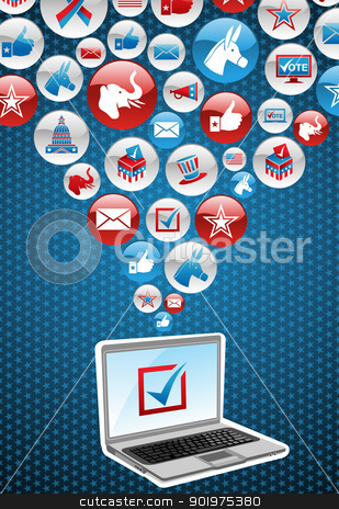 USA elections electronic voting stock vector clipart, USA elections online voting: notebook with politics icons splash background. Vector file layered for easy manipulation and custom coloring. by Cienpies Design